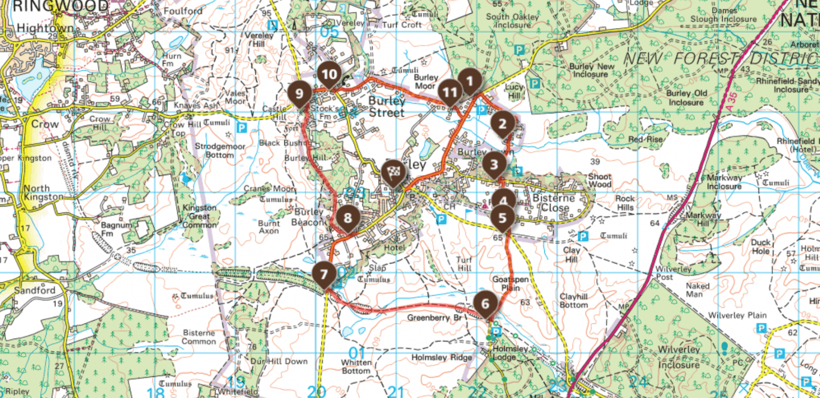 New Forest Cycle Route Map
