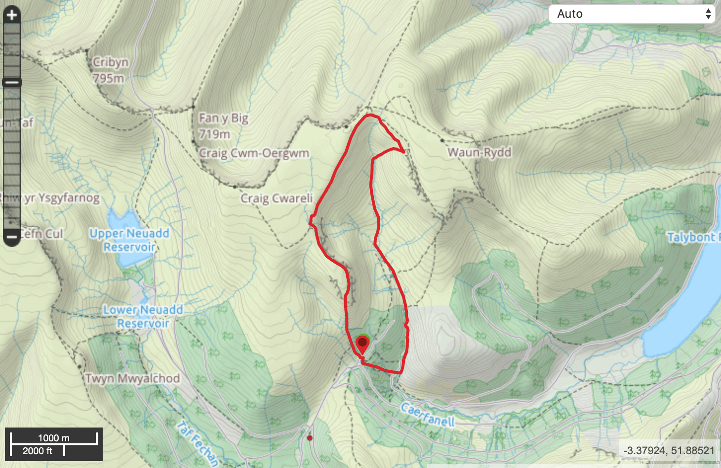 Walking in the Brecon Beacons map